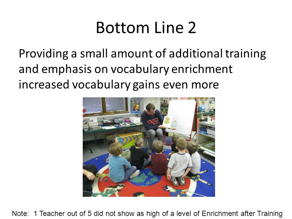 Bottom Line 2 Providing a small amount of additional training and emphasis on vocabulary enrichment increased vocabulary gains even more.