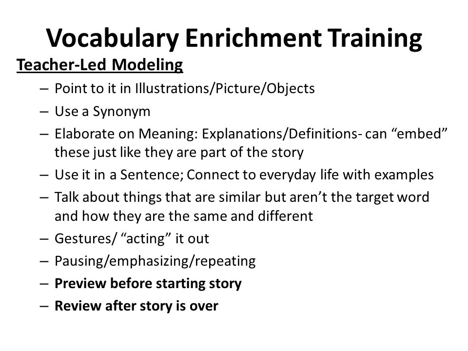 Vocabulary Enrichment Training