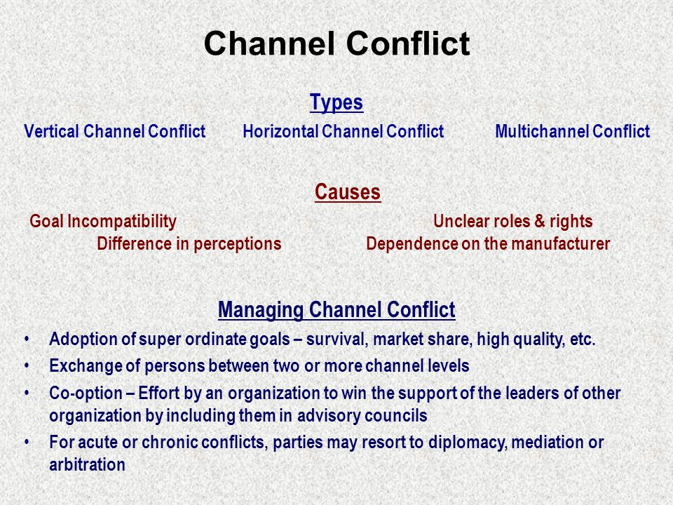 causes of channel conflicts Marketing channel conflicts management deals with understanding the cause of conflicts and to devise ways to overcome by working out a better solution.