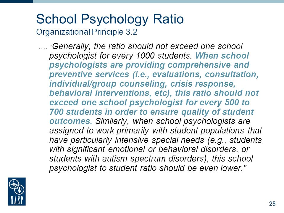 School Psychology Ratio Organizational Principle 3.2