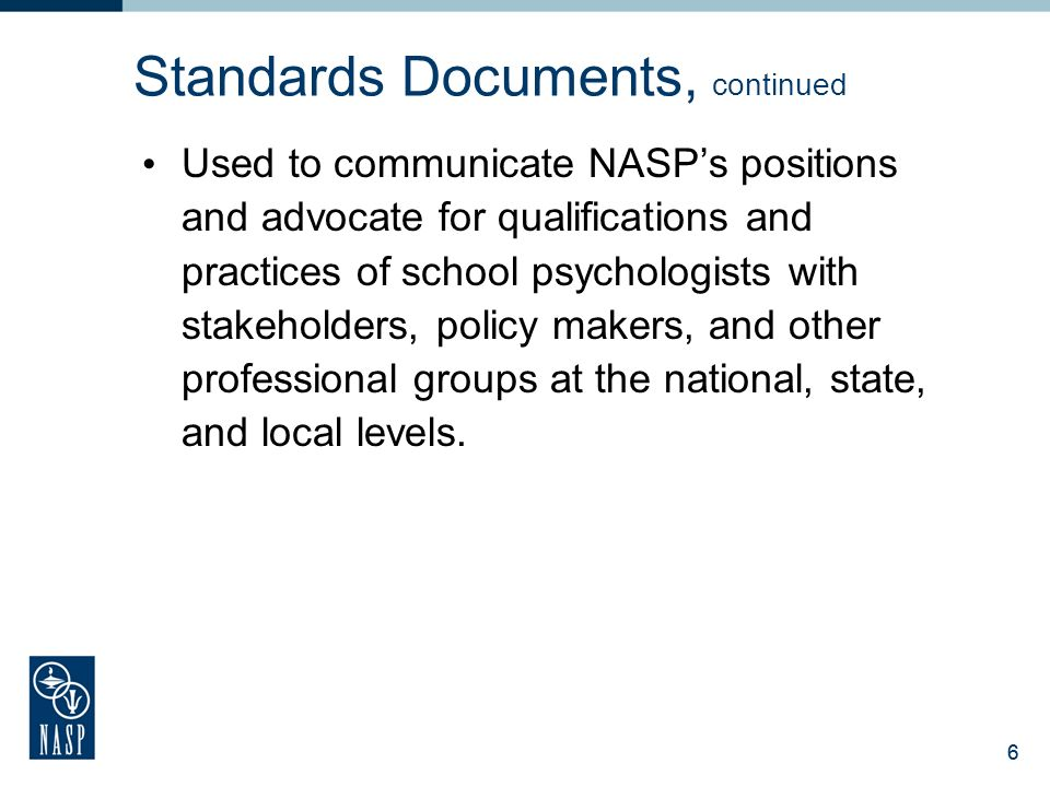 National association of school psychologists ppt download 6 standards documents malvernweather Gallery