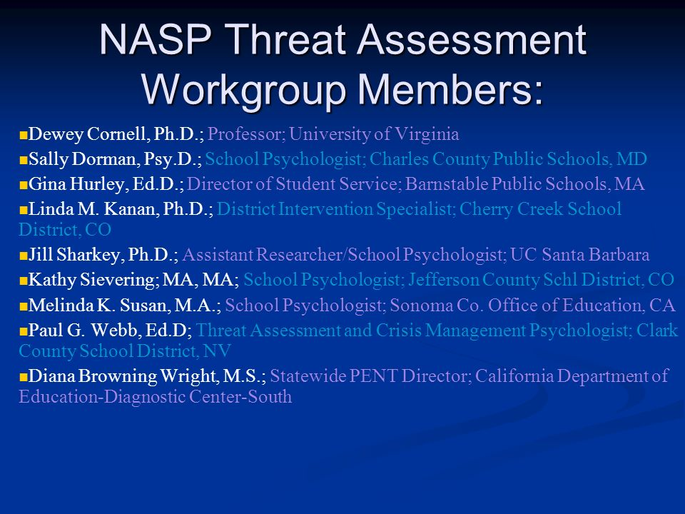 NASP Threat Assessment Workgroup Members: