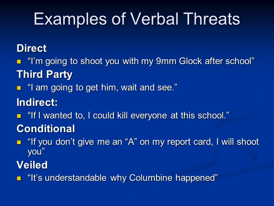 Examples of Verbal Threats