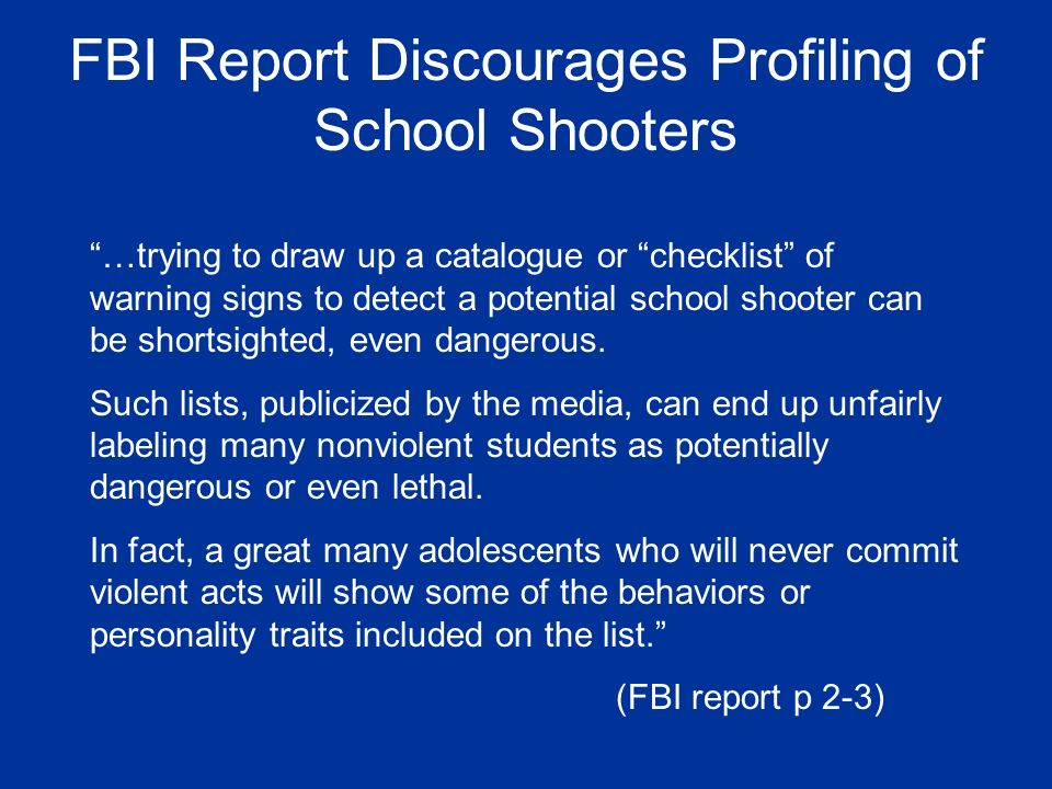 FBI Report Discourages Profiling of School Shooters
