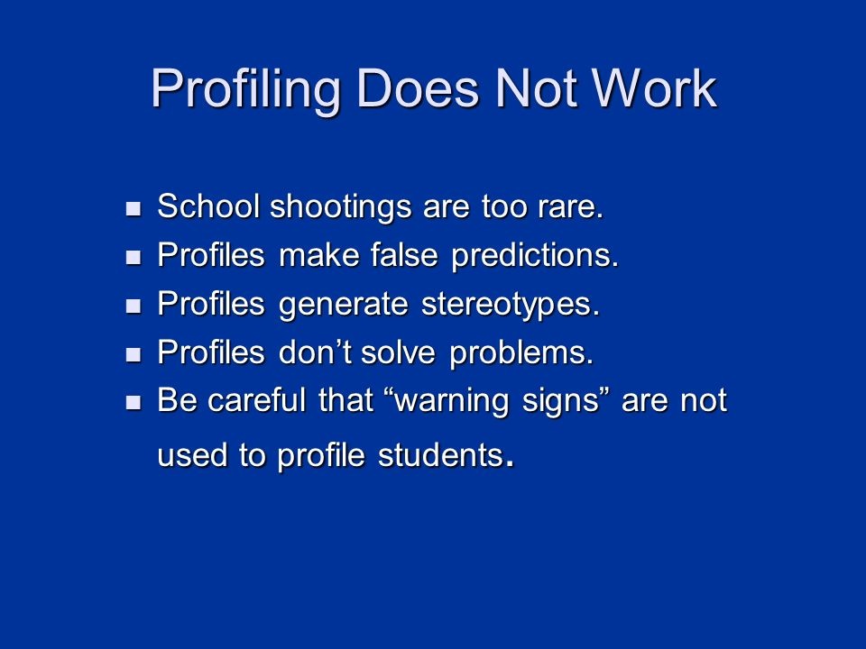 Profiling Does Not Work