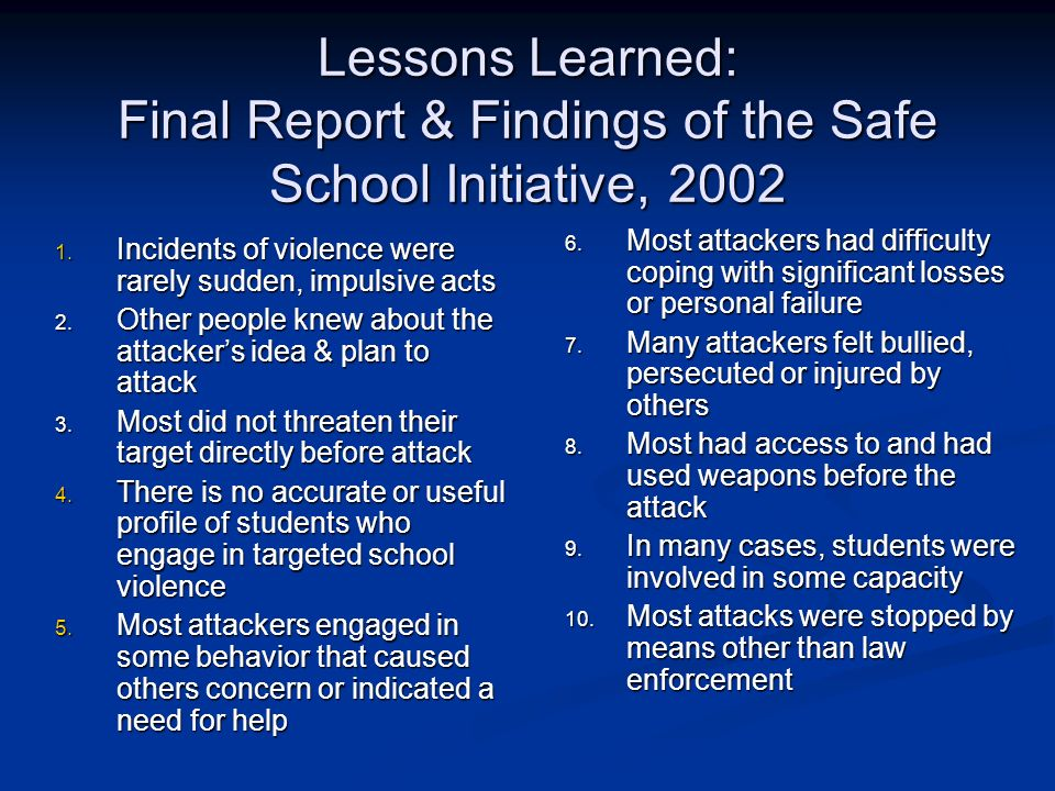 Lessons Learned: Final Report & Findings of the Safe School Initiative, 2002
