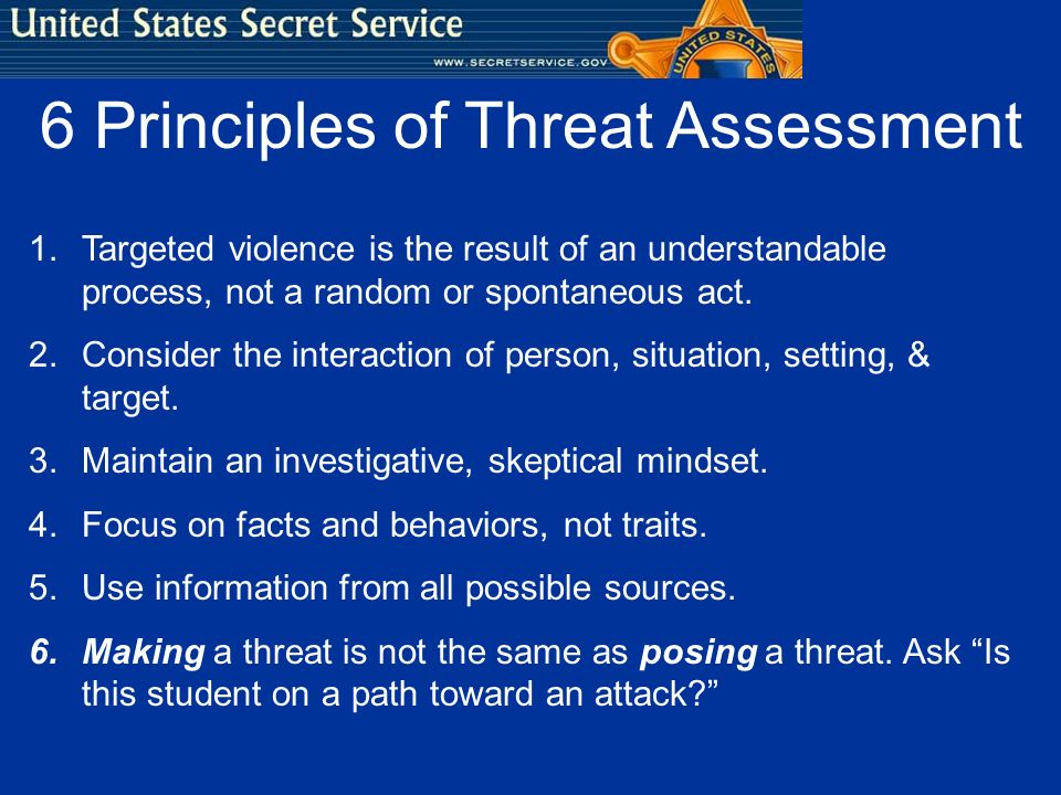 6 Principles of Threat Assessment