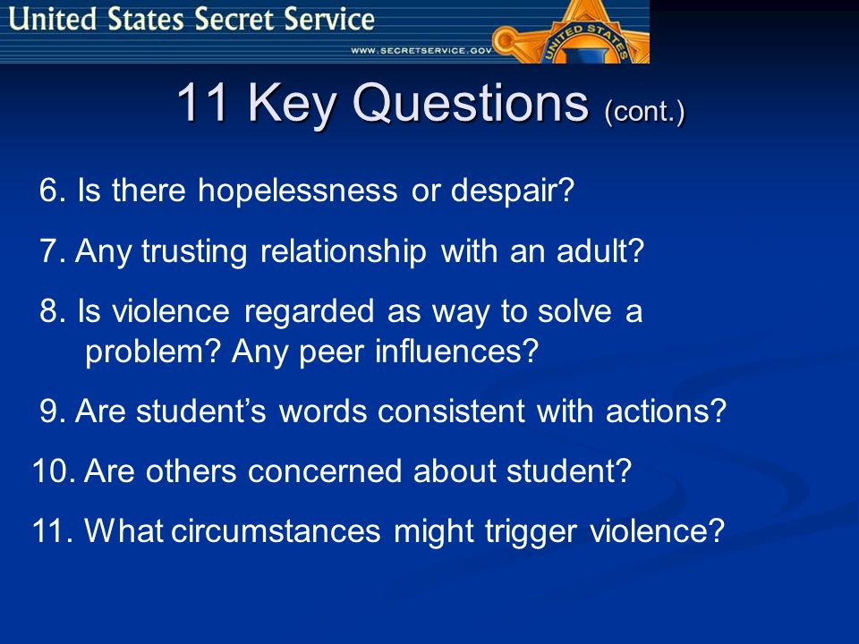 11 Key Questions (cont.) 6. Is there hopelessness or despair