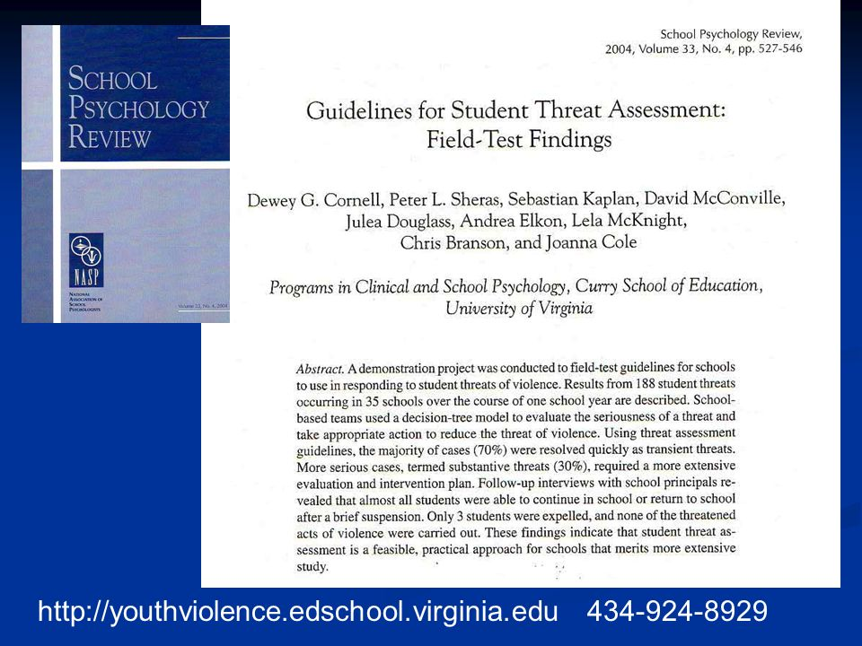 http://youthviolence.edschool.virginia.edu 434-924-8929