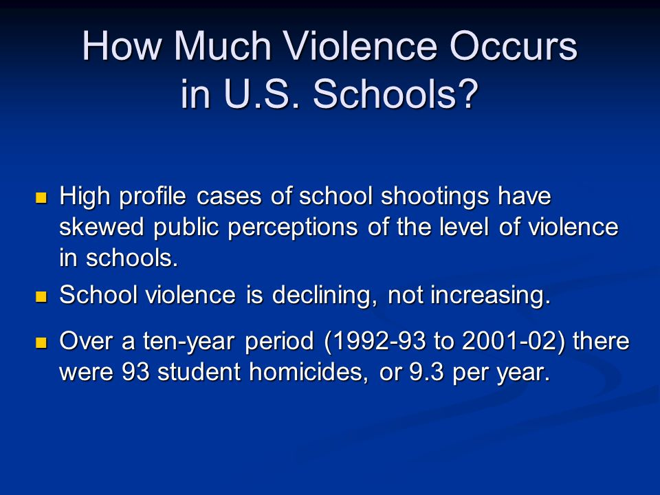 How Much Violence Occurs in U.S. Schools