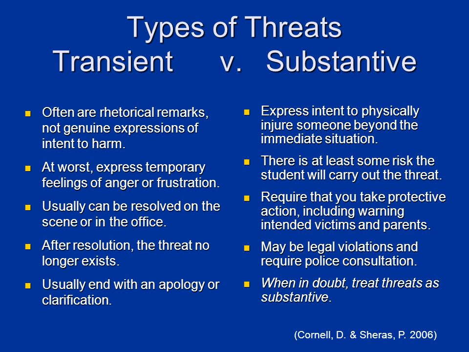 Types of Threats Transient v. Substantive