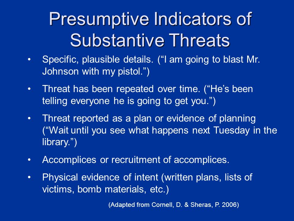Presumptive Indicators of Substantive Threats
