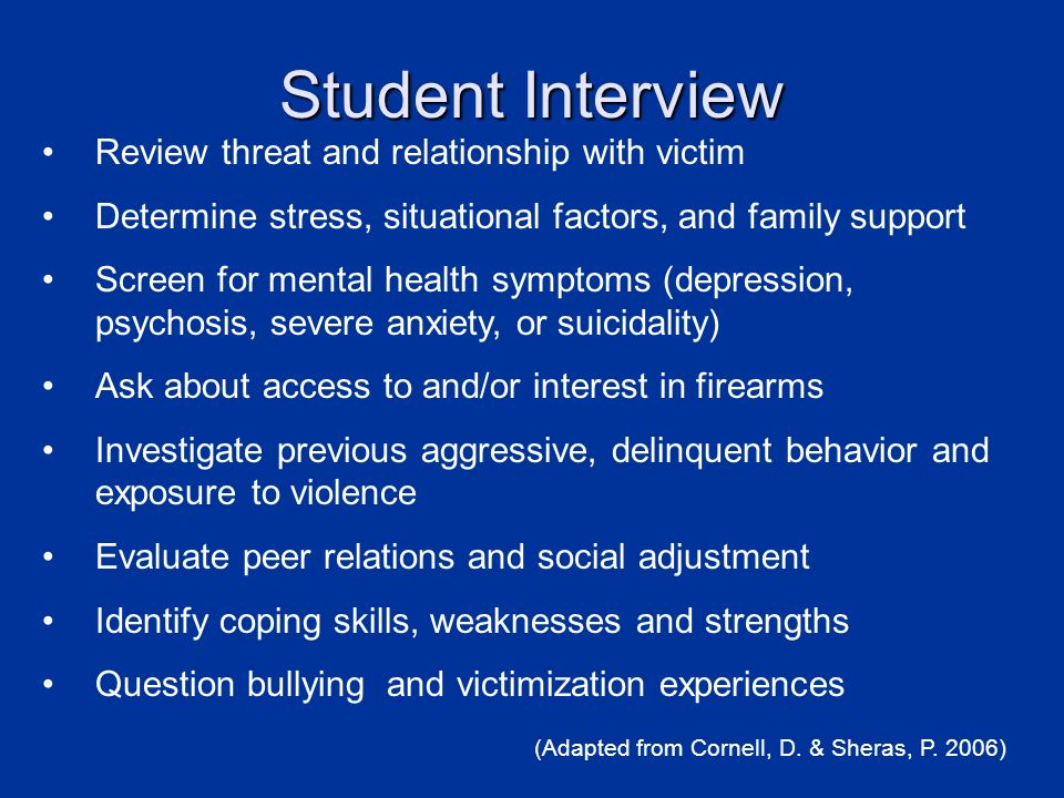 Student Interview Review threat and relationship with victim