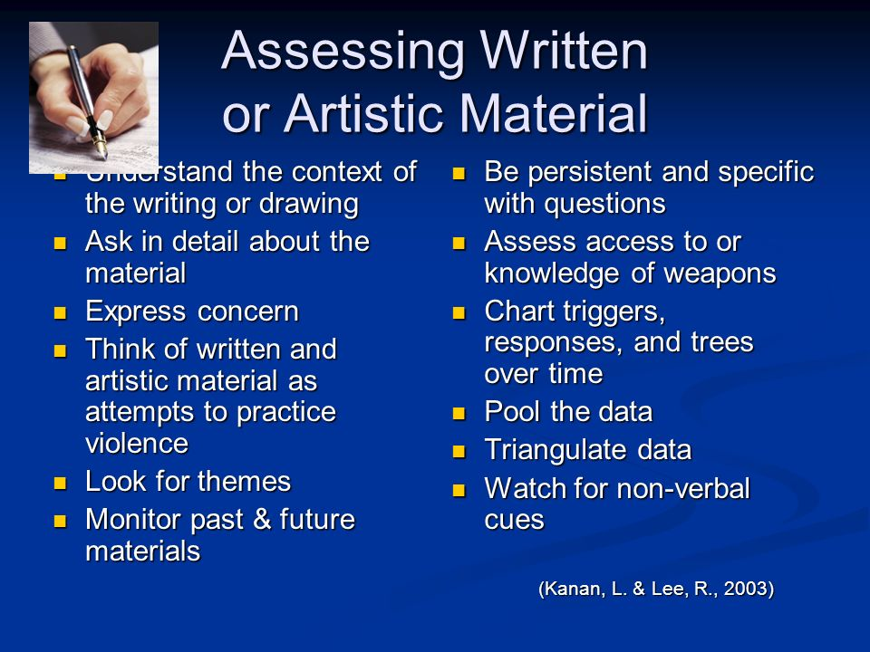 Assessing Written or Artistic Material