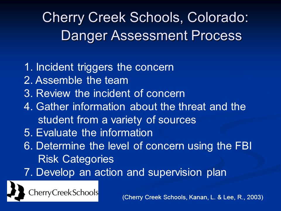Cherry Creek Schools, Colorado: Danger Assessment Process