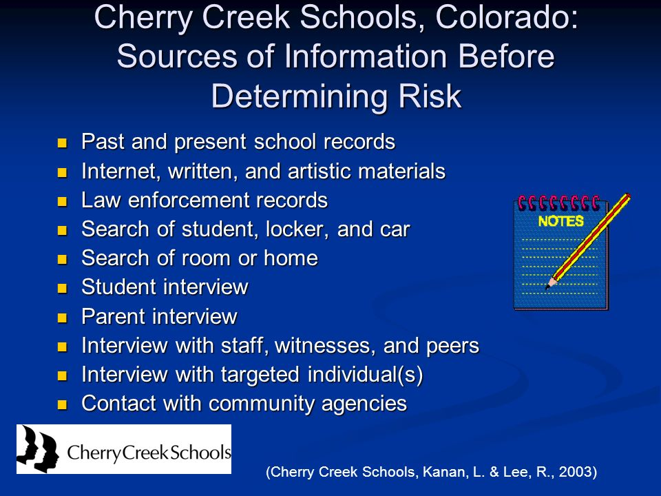 Cherry Creek Schools, Colorado: Sources of Information Before Determining Risk