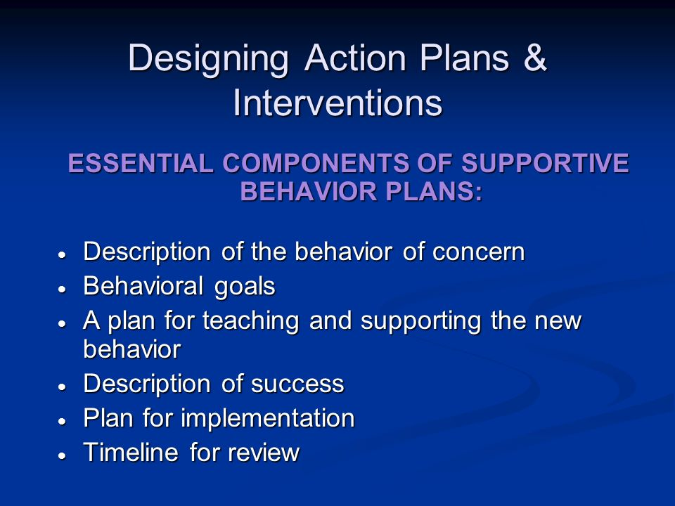Designing Action Plans & Interventions