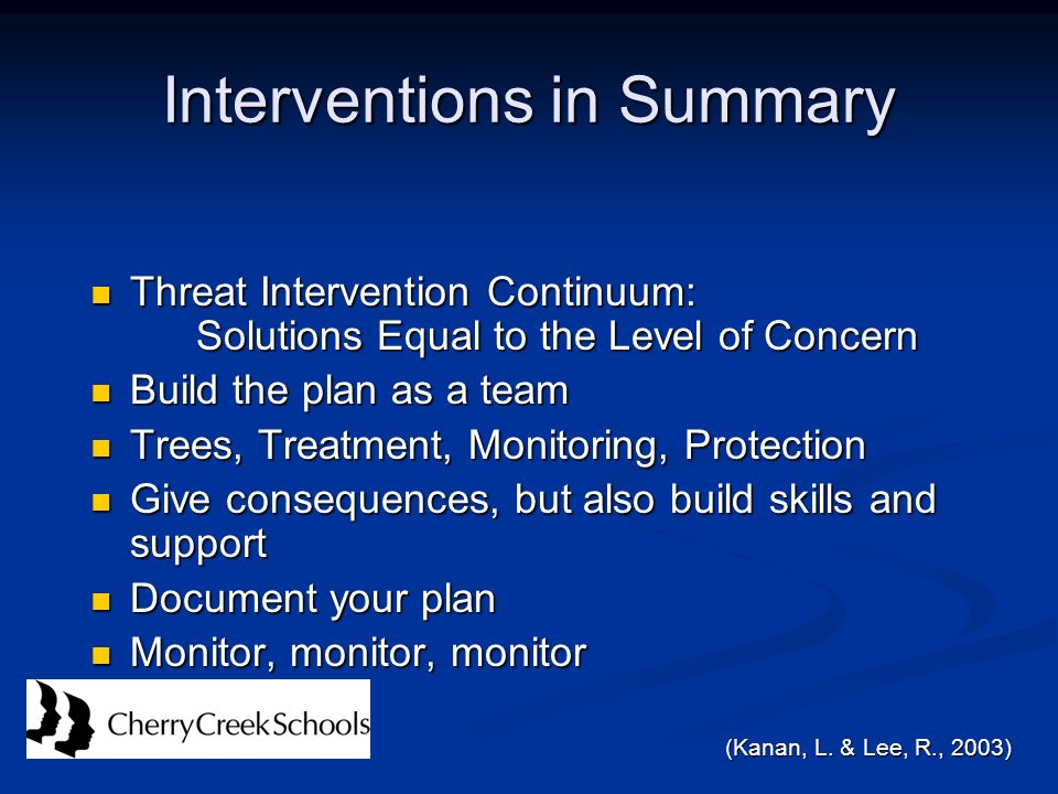 Interventions in Summary