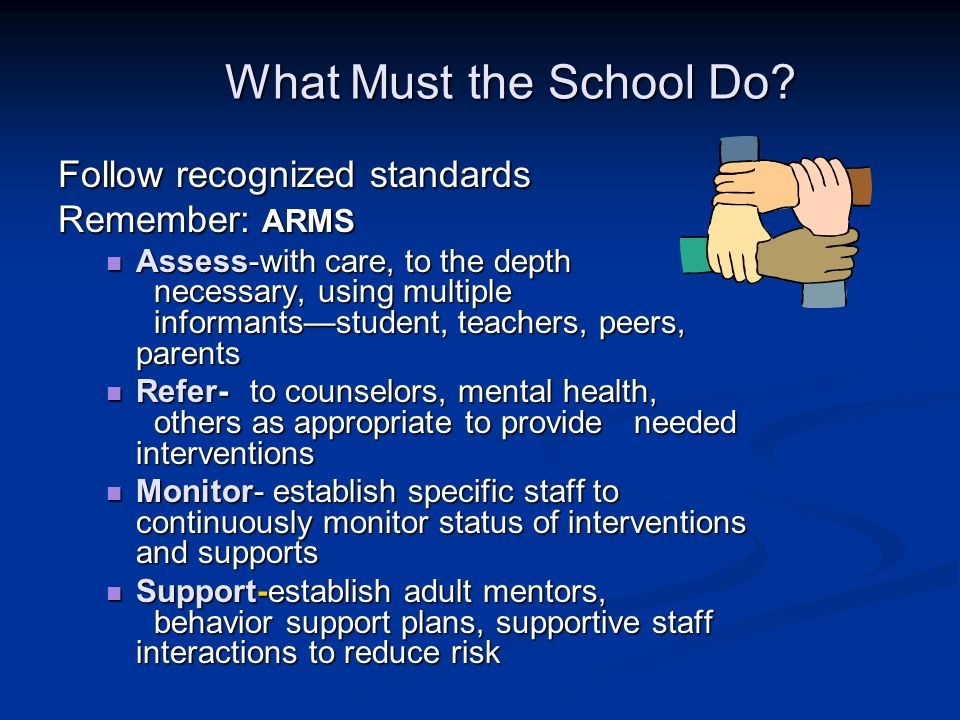 What Must the School Do Follow recognized standards Remember: ARMS
