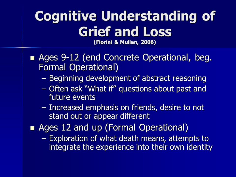 Cognitive Understanding of Grief and Loss (Fiorini & Mullen, 2006)