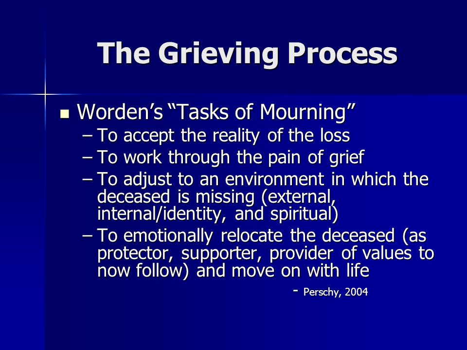 The Grieving Process Worden's Tasks of Mourning