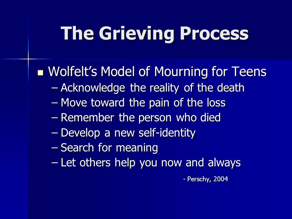 The Grieving Process Wolfelt's Model of Mourning for Teens