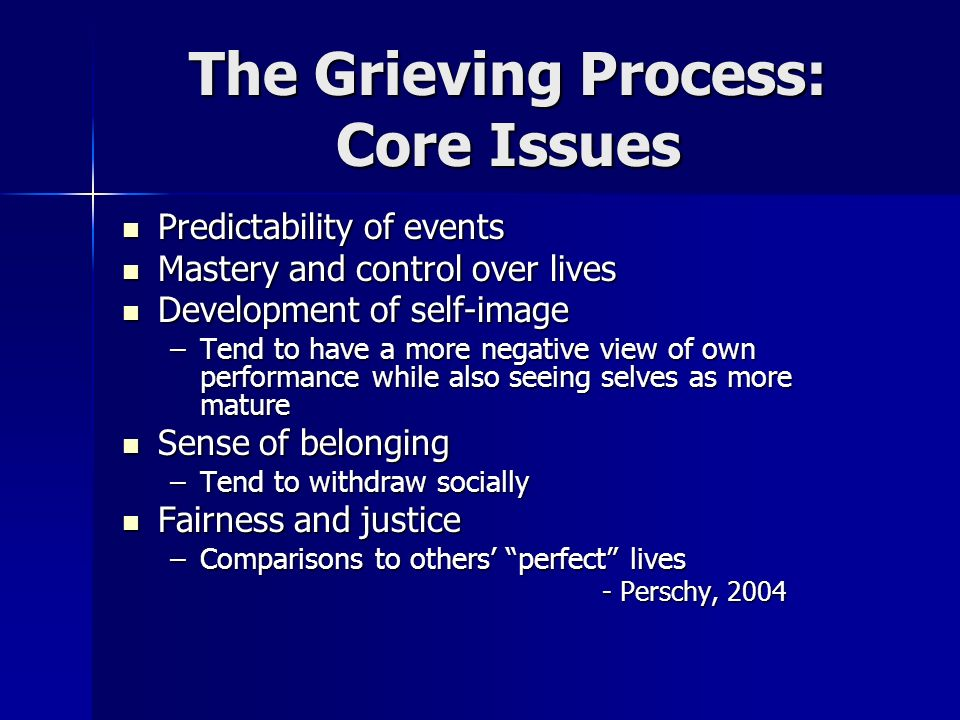 The Grieving Process: Core Issues