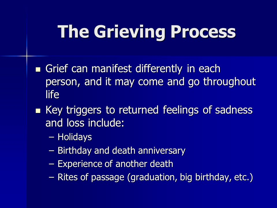 The Grieving Process Grief can manifest differently in each person, and it may come and go throughout life.
