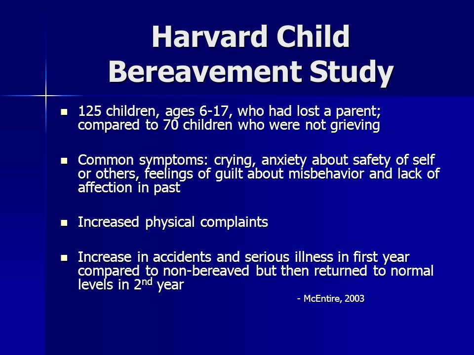 Harvard Child Bereavement Study
