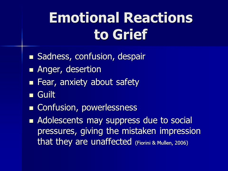 Emotional Reactions to Grief
