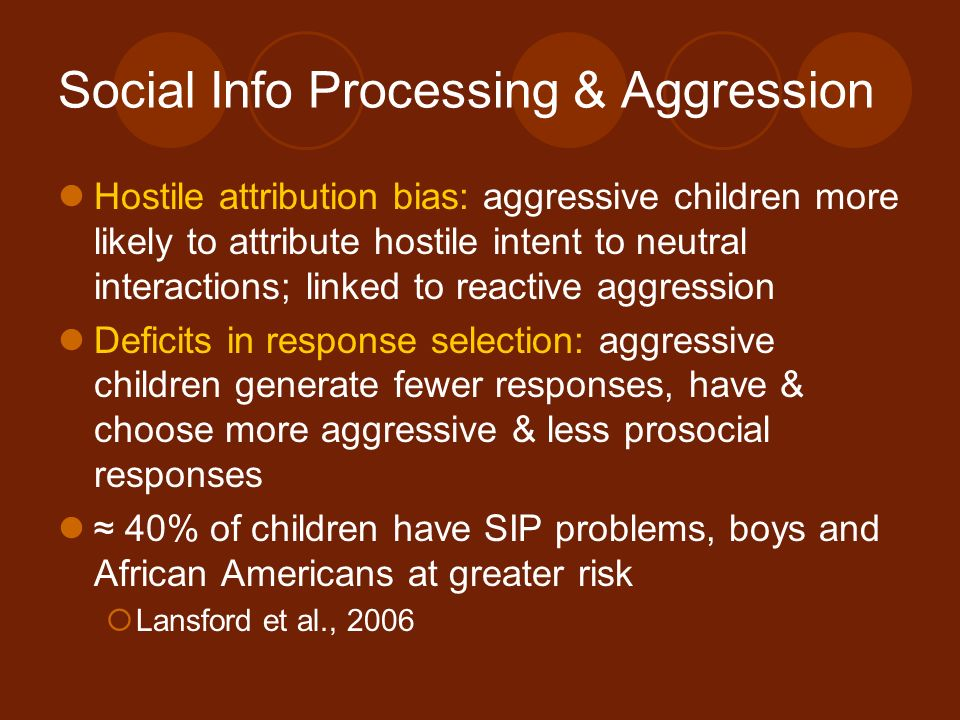 Social Info Processing & Aggression