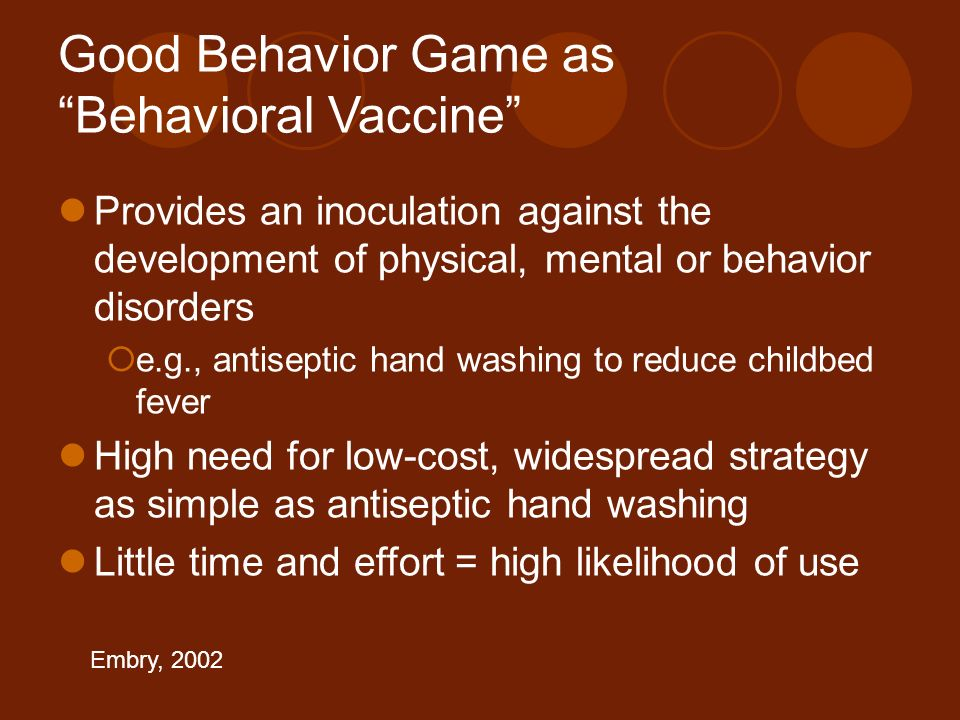 Good Behavior Game as Behavioral Vaccine