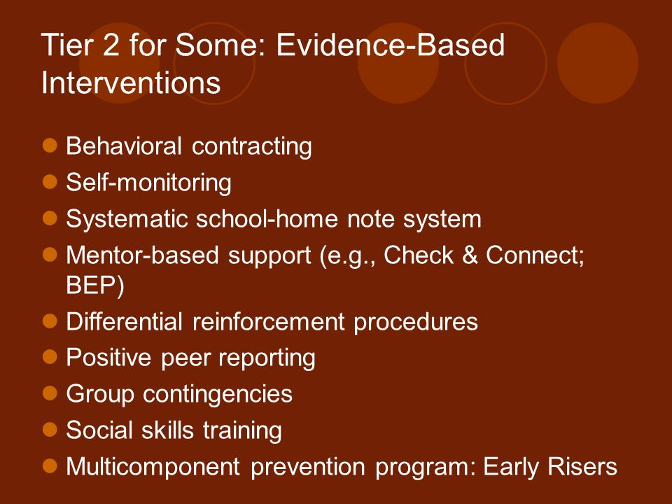 Tier 2 for Some: Evidence-Based Interventions