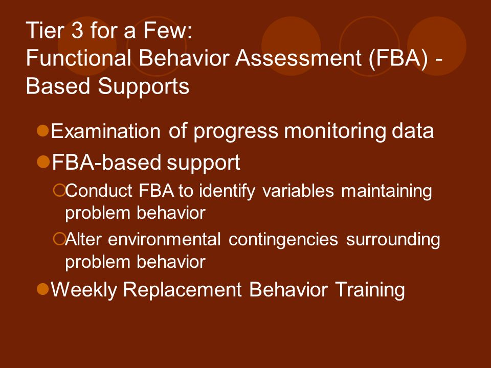 Tier 3 for a Few: Functional Behavior Assessment (FBA) -Based Supports