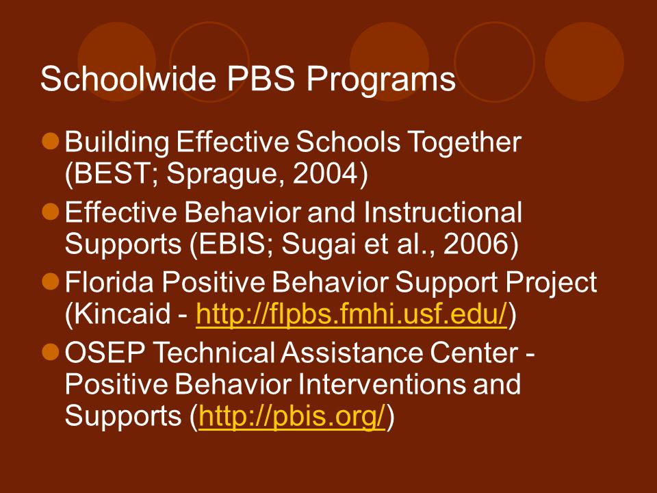 Schoolwide PBS Programs