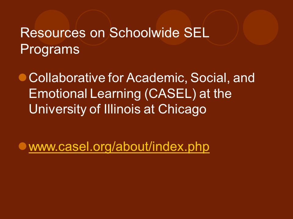 Resources on Schoolwide SEL Programs