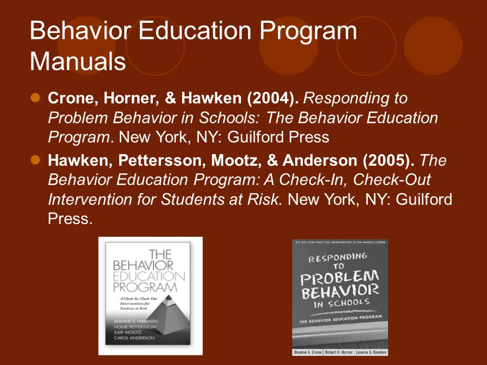 Behavior Education Program Manuals