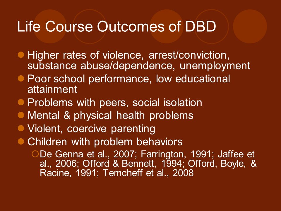 Life Course Outcomes of DBD