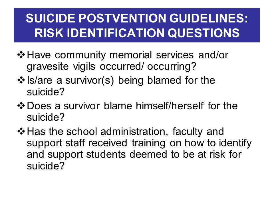 SUICIDE POSTVENTION GUIDELINES: RISK IDENTIFICATION QUESTIONS