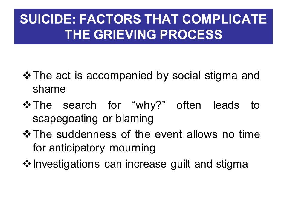 SUICIDE: FACTORS THAT COMPLICATE THE GRIEVING PROCESS