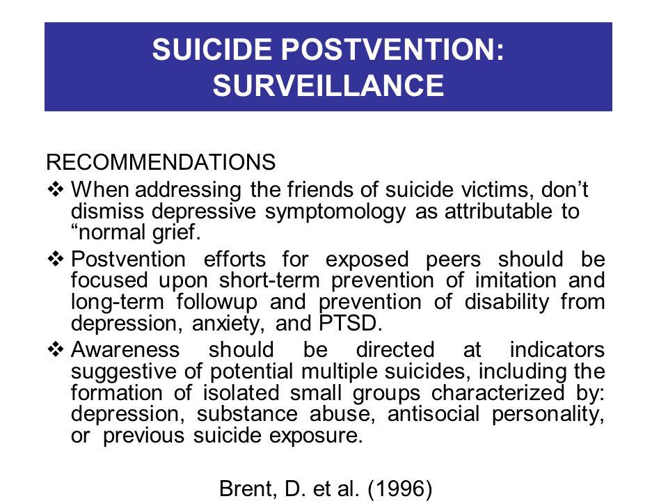 SUICIDE POSTVENTION: SURVEILLANCE