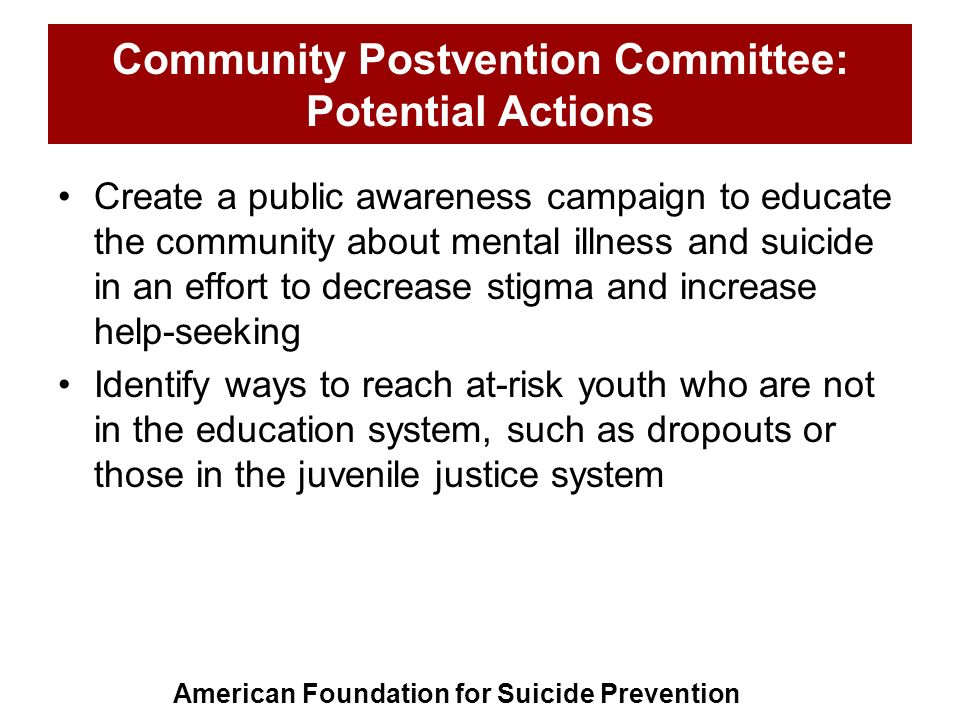 Community Postvention Committee: Potential Actions