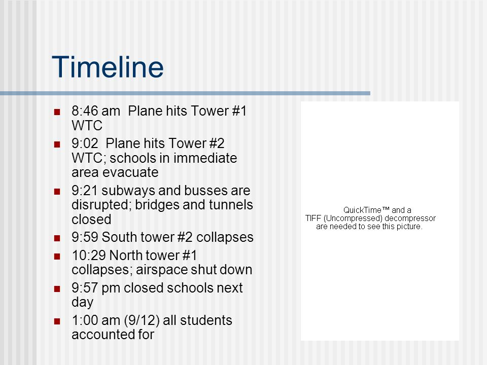 Timeline 8:46 am Plane hits Tower #1 WTC