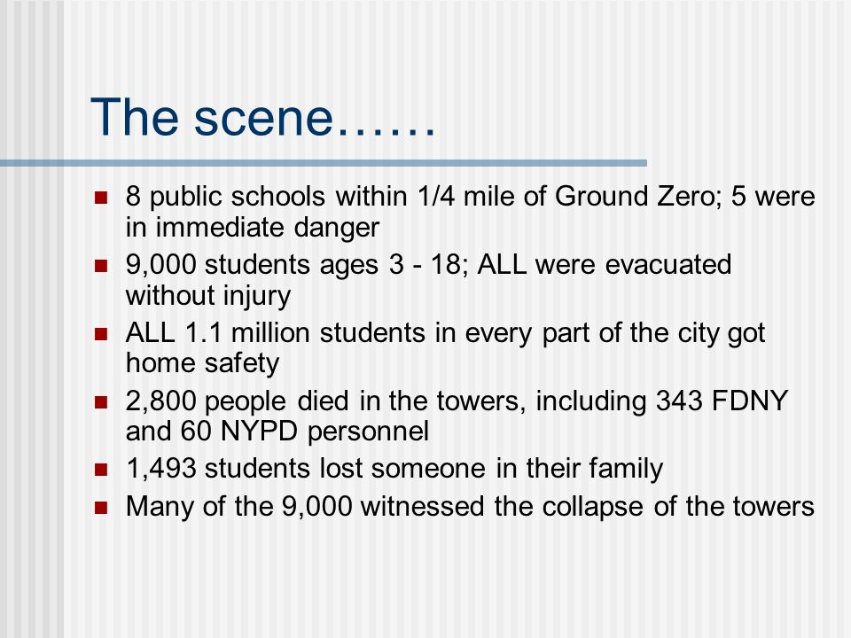 The scene…… 8 public schools within 1/4 mile of Ground Zero; 5 were in immediate danger.