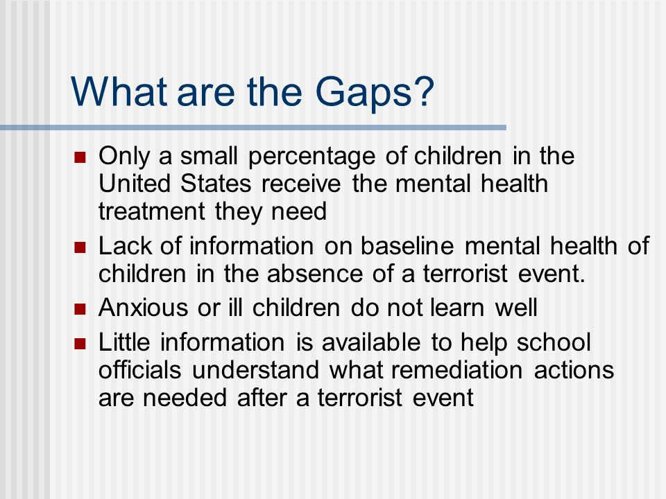 What are the Gaps Only a small percentage of children in the United States receive the mental health treatment they need.