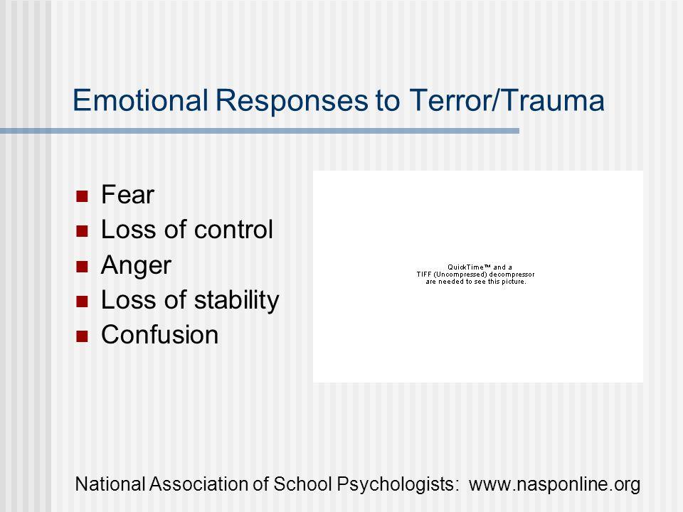 Emotional Responses to Terror/Trauma