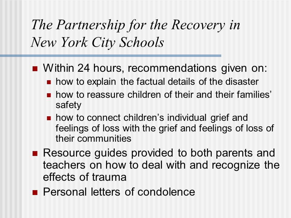 The Partnership for the Recovery in New York City Schools