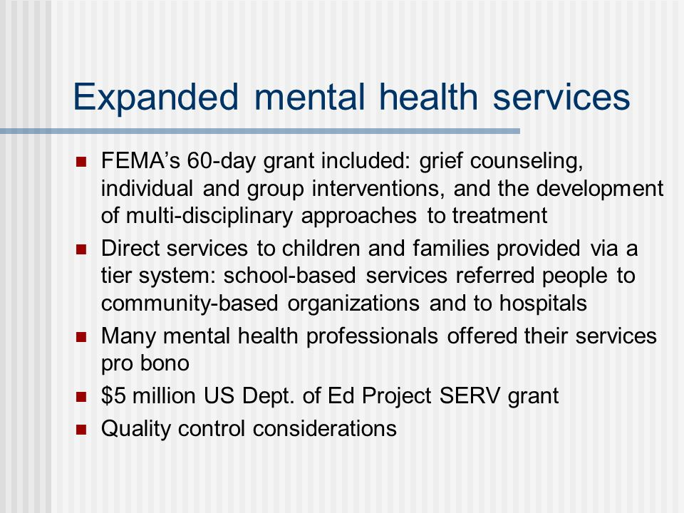 Expanded mental health services