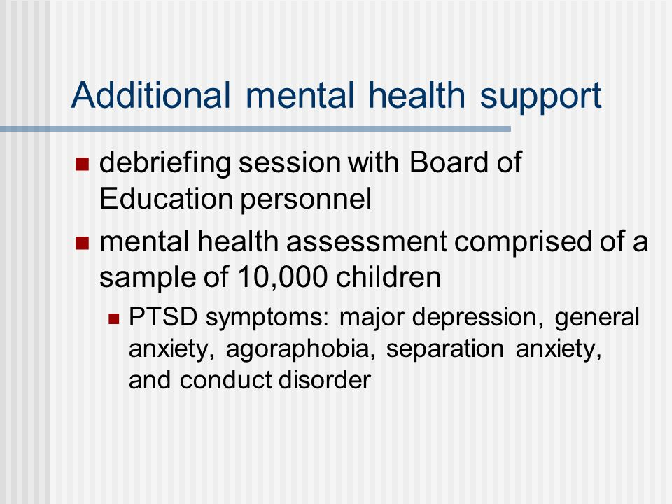 Additional mental health support
