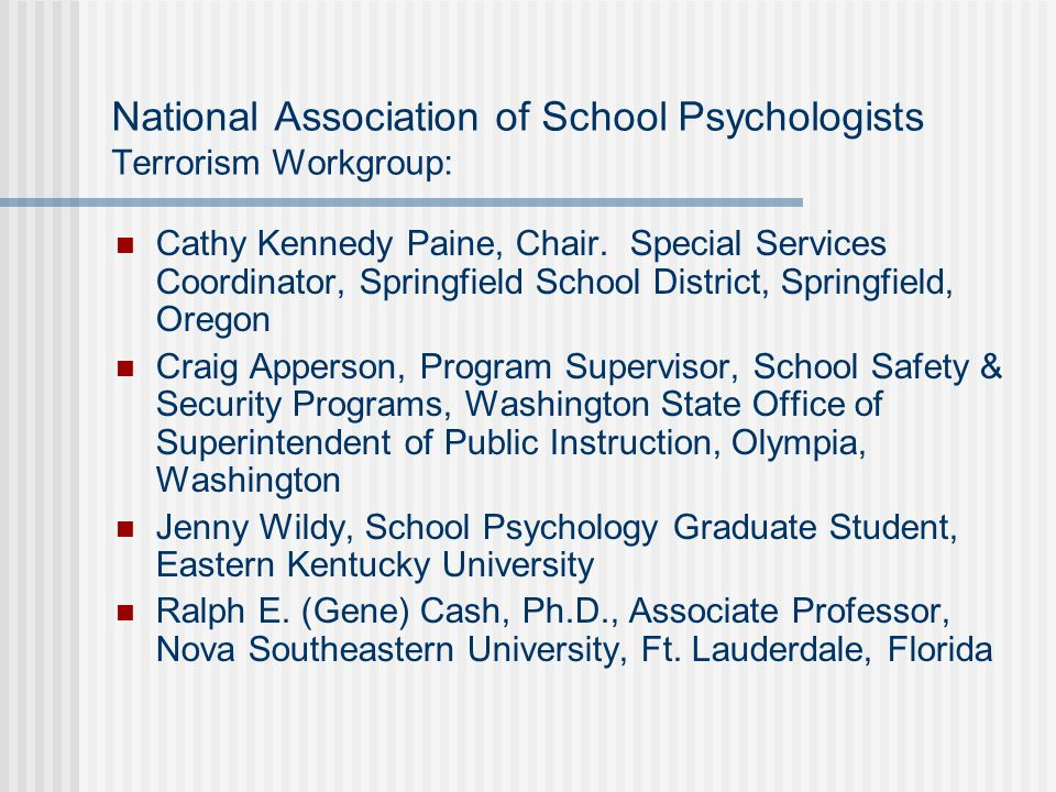 National Association of School Psychologists Terrorism Workgroup: